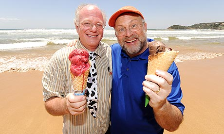 The two co-founders, Ben Cohen and Jerry Greenfield. Photograph: James D. Morgan/Rex Features